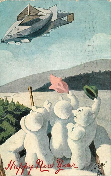 three snowmen  wave to airship,one has telescope, one a green hat one a pink hanky