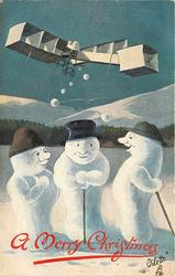 three snowmen  on snowy ground,two lean on sticks,another in peculiar plane throws snowballs down
