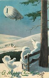 in the hills of snow, three snowmen, two seated under tree, snow child waves goodbye to airship