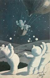 night scene three snowmen are waving goodbye to two others in a blloon basket