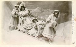 MISS MADGE LESSING & CHORUS  snow scene with sled
