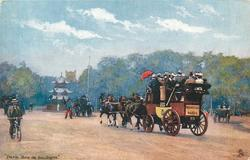 a stage-coach going left, man on bike on far left, pagoda in background