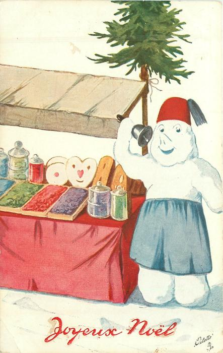 snow person stands beside stall of sweets for sale, he rings bell