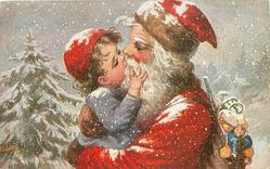 FROHLICHE WEIHNACHTEN santa cuddles & kisses boy in snow