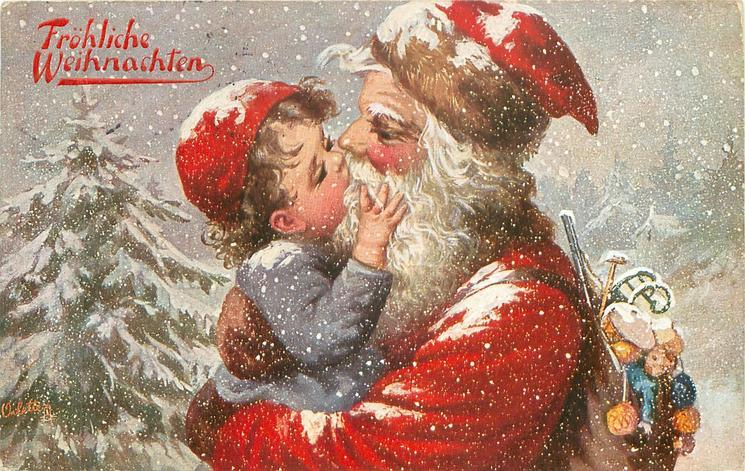 FROHLICHE WEIHNACHTEN santa cuddles & kisses boy in snow