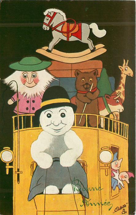 snow coachman drives front, man, bear, cow , giraffe, rocking horse above on coach