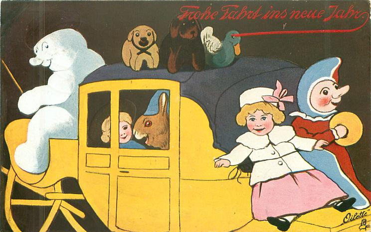 snow coachman drives left, two dogs & duck above on coach, rabbit & girl inside, clown & girl ride behind