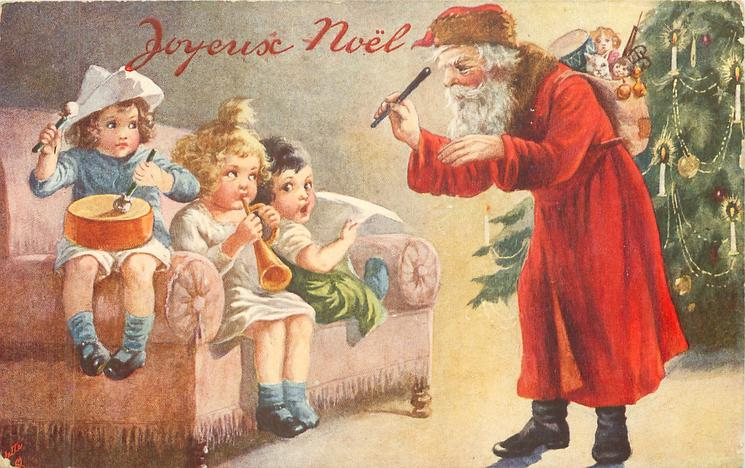 Santa stands in fron of Xmas tree conducing band of three children sitting on couch left