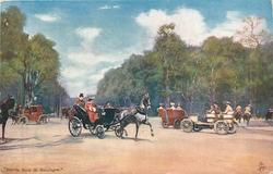 lady driving one horse carriage going right, coachman behind, old auto going from right to left