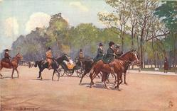 two woman and three men on horseback, coach in background