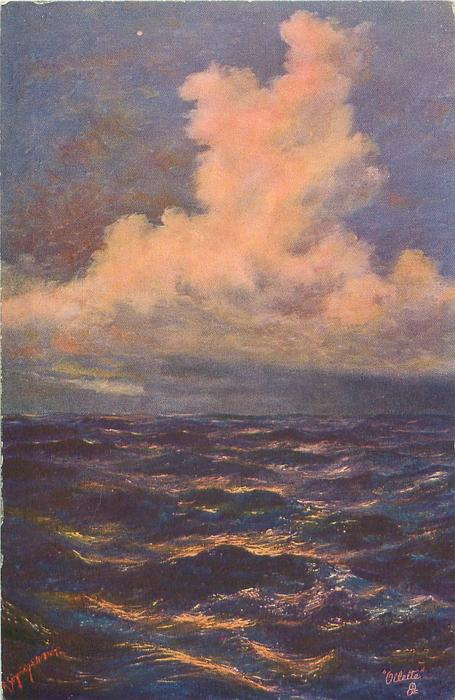 purple/red seascape, mass of pale clouds