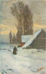 snow scene, man in front of barn right, trees behind
