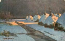snow scene, stream centre, snow covered hay-stacks right