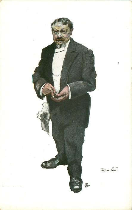 caricature of elderly unhappy waiter with a rag in his pocket, hands together in front, faces  & looks front