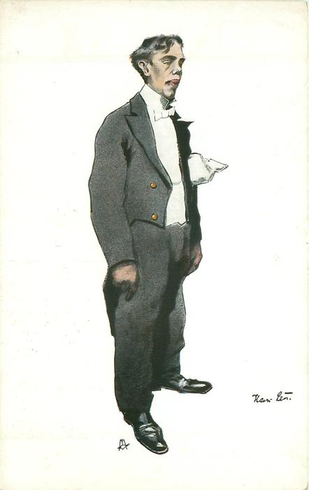 caricature of long faced waiter with a rag in his pocket, hands at sides, faces  & looks half right