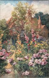 garden scene with pink flowers, girl watering flowers next to path with house behind