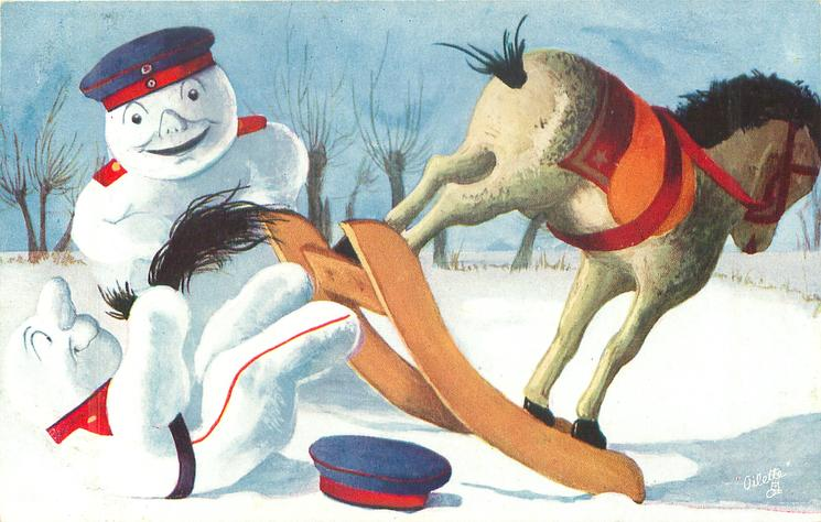 rocking horse has thrown off snow-cavalry man,  snow-cavalry-officer observes
