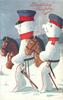snow-cavalry officer & snow cavalry-man ride half rocking horses left