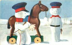 snow-cavalry officer prepares to mount rocking horse, orderly holds reins