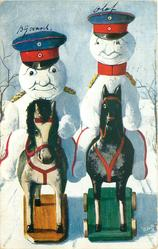 two snow-cavalry officers ride rocking horses front