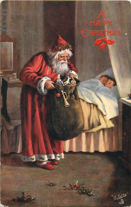 red robed Santa with sack of toys, two children in bed asleep behind