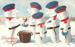 four snow-militiamen line up for soup served by another