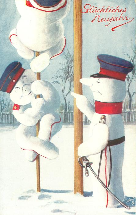 two snow-militiamen climb poles, instructed by an officer