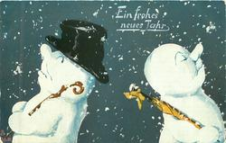two snowmen back to back with noses in air, one on left wears black top-hat, snow flakes falling around