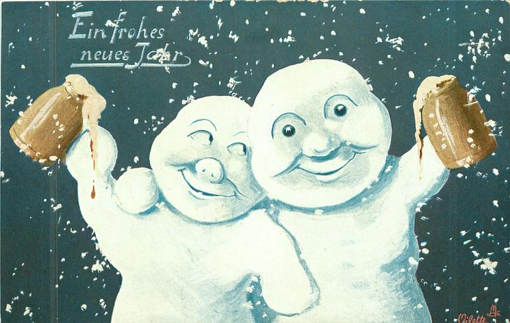 two snowmen face embrace & face front, each holds up stein of beer, snow flakes falling around