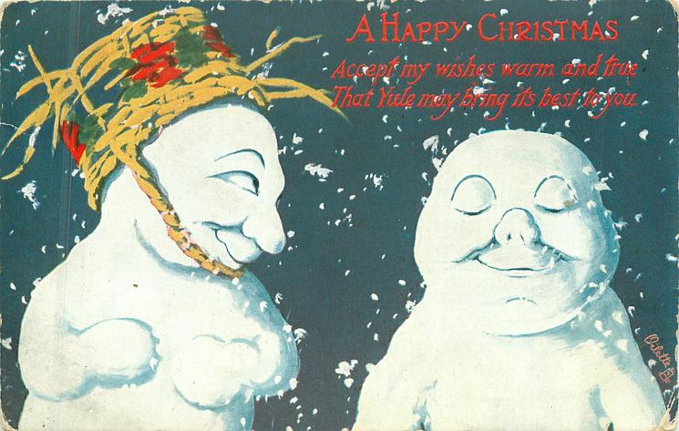 two snow people face left, one on left wears straw basket hat & looks right, one on right has closed eyes, snow flakes falling around