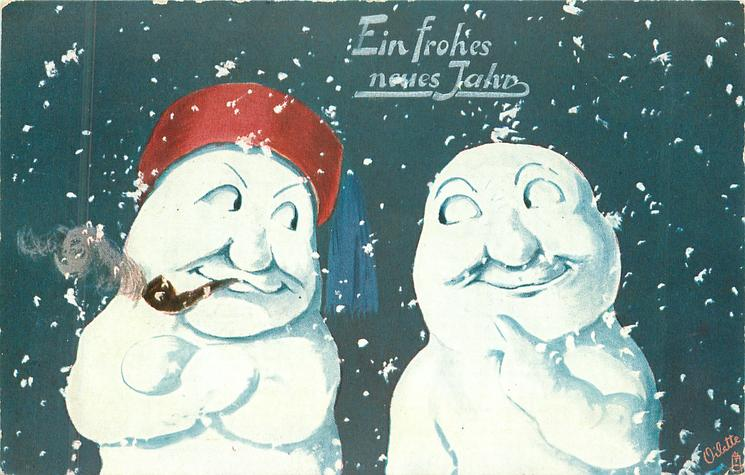 two snow people stand facing front, glancing sideways at each other, one on left wears tasselled hat, snow flakes falling around