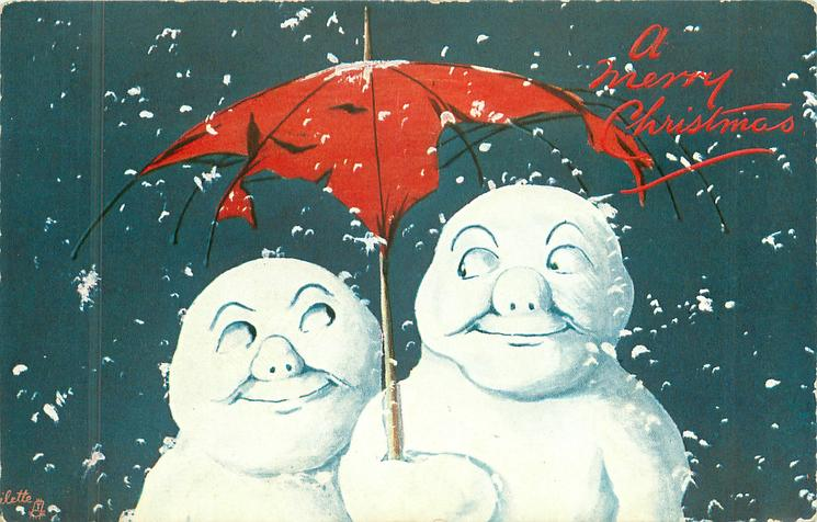 two snow people under red umbrella, snow flakes falling around