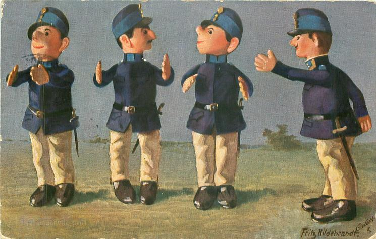 four toy-soldiers gesticulate