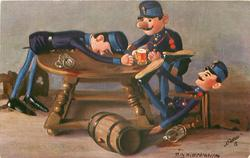 three toy-soldiers drink themselves silly round table, barrel centre front