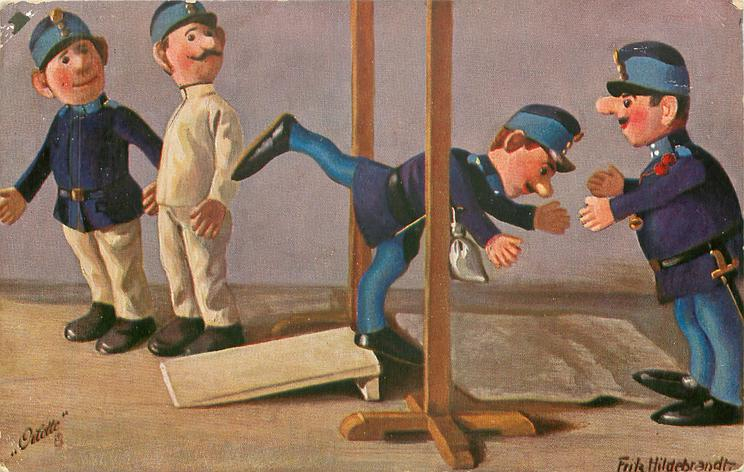 toy-soldier attempts high jump, three others observe his failure