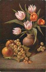 six tulips in vase, two yellow and four pink, two oranges and grapes on plate