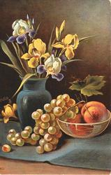 peaches in glass bowl with grapes, big vase with purple-yellow irises left