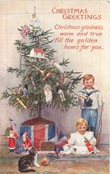CHRISTMAS GREETINGS  (two children to right of Xmas tree, kitten with ball in front)