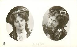 2 insets MISS JEAN AYLWIN  in Scottish attire, holding heather to face in right inset