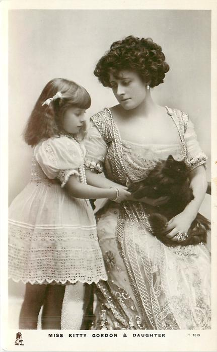 MISS KITTY GORDON & DAUGHTER  with cat