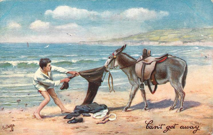 CAN'T GET AWAY  man in white shirt ,red shorts under it,and donkey pull mans pants