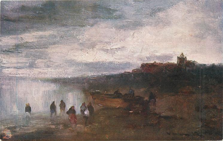 A FISHING VILLAGE (six people in foreground, single boat, no sail beached behind, very distant village behind right)