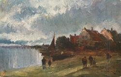 A THAMES VILLAGE (several people in foreground, village background right)