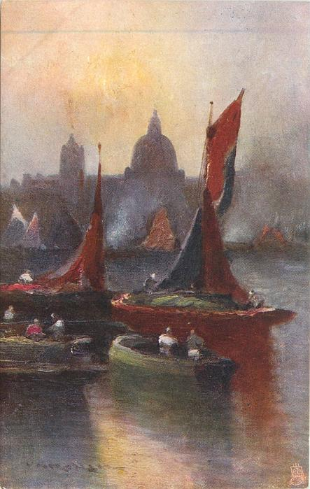 BARGES ON THE THAMES (many boats, some with red sails, St. Paul's in background)