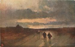 EVENTIDE (four people in foreground, village back left, dark card, prominent clouds)