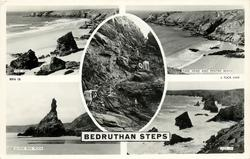 5 insets  TIDE OUT/PARK HEAD AND PENTIRE BEACH/ BEDRUTHAN STEPS/QUEEN BESS ROCKS/TIDE IN