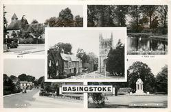 5 insets EASTROP CHURCH/BLACK DAM NEAR BASINGSTOKE/ST. MICHAEL'S CHURCH SQUARE/LONDON ROAD/WAR MEMORIAL, GOLDINGS PARK