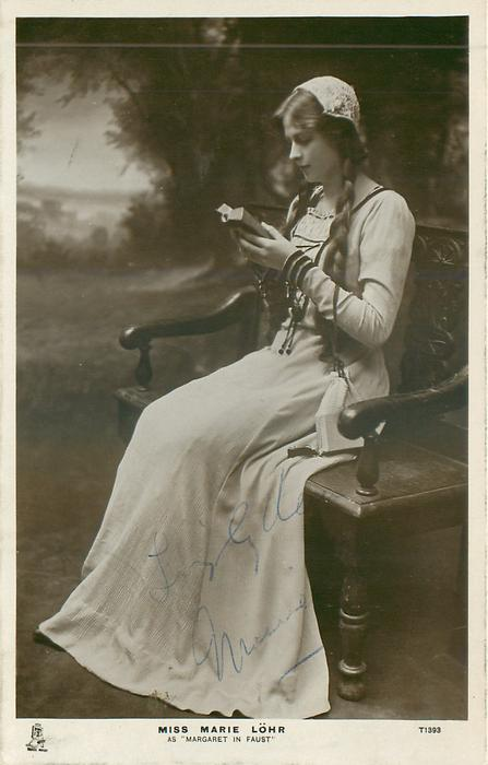 "MISS MARIE LOHR AS ""MARGARET IN FAUST""  sitting reading"