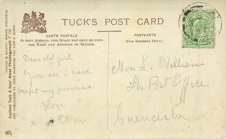 MISS GERTRUDE ELLIOT photographic over large letter 'E'( Tuck error for ELLIOTT)