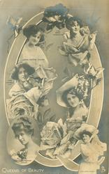 Q, QUEENS OF BEAUTY six actresses, PAULINE CHASE, ZENA DARE, GABRIELLE RAY, GERTIE MILLAR, NINA SEVENING, MARIE STUDHOLME